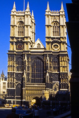 Westminster Abbey, West Front (AntyDiluvian) Tags: england greatbritain britain london vintage 1973 1970s abbey westminsterabbey facade westfacade towers architecture