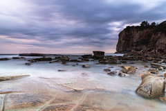 Moody and Overcast Rocky Dawn Seascape (Merrillie) Tags: daybreak theskillion rocky nature water terrigal morning overcast sea waterscape newsouthwales rocks earlymorning nsw coast landscape ocean australia cloudy sunrise coastal clouds outdoors seascape dawn centralcoast waves sky