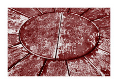 Table Art? (PeteZab) Tags: abstract table texture red pattern quadtone peterzabulis