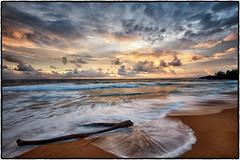 Another Kauai Sunrise; Donkey Beach, Kealia. (peterrath) Tags: sunrise sunset landscape seascape beach sand sun sky clouds goldenhour kauai hawaii travel