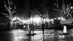 Christmas Trees For Sale 01 (byronv2) Tags: blackandwhite blackwhite bw monochrome night nuit nacht edinburgh edinburghbynight edimbourg scotland wet raining weather winter holycorner bruntsfield morningside church christmas christmastree tree lights decoration christmasdecorations