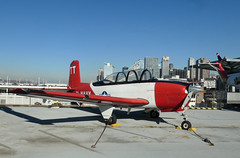 Beech T-34 Mentor - On the USS Intrepid (Monceau) Tags: beecht34mentor airplane red white training flying plane ussintrepid