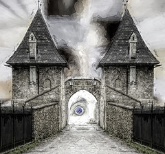 Anybody in There (beelzebub2011) Tags: surreal composite artwork gatehouse mirrorimage austria salzburg