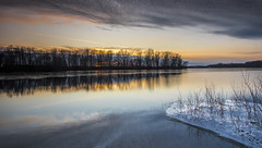 Sunset at the Bend Area.... (Kevin Povenz Thanks for all the views and comments) Tags: 2019 december kevinpovenz westmichigan michigan ottawa ottawacounty ottawacountyparks outdoors outside thebendarea sunset evening water pond lake ice canon7dmarkii sigma1020 blue yellow orange trees tree