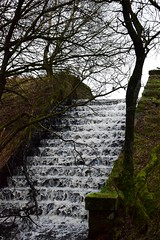 Old reservoir outfall (LMW76) Tags: peak district derbyshire winter sunshine december 2019 landscape outside outdoors water flowing waterfall bar brook reservoir steps outfall
