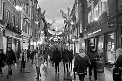 Carnaby Street (I M Roberts) Tags: carnabystreet westend w1 soho christmaslights streetscene urbansetting streetphotography centrallondon fujix100s bw