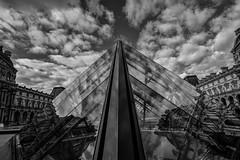 Reflections (karmajigme) Tags: reflection reflets clouds sky architecture monument louvre pyramid city paris france travel monochrome noiretblanc blackandwhite cityscape bw nikon