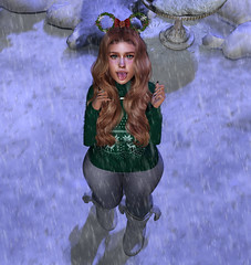 Ember Snow Christmas (Ember Mae Whittaker) Tags: snow secondlife christmas cute green adorable outside edit photography white hair boots
