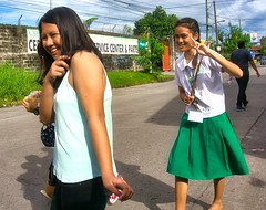 Don't be Shy (Beegee49) Tags: street people women girls students laughing happy shy sony filipina bacolod city philippines asia