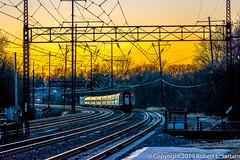 Amtrak 87, Darby, 2019-12-07 (redheadedrobbie1) Tags: amtrak nec northeastcorridor siemens acs64 citiessprinter northeastregional railroad railway train passenger electric catenary sunset dusk