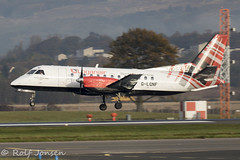 G-LGNF Saab 340B Loganair Glasgow airport EGPF 21.10-19 (rjonsen) Tags: plane airplane aircraft aviation airliner turboprop flying landing runay