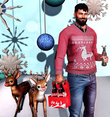 [ 📷 - 218 ] (insociable.sl) Tags: christmas xmas boy snow man male love ball beard reindeer fun pull model funny cola decoration sl secondlife cocacola decor pullover edit deer magnificient modulus semotion