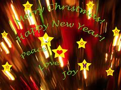 Brightly Shining Stars (kfocean01) Tags: christmas holidays red yellow photomanipulation photoshop awardtree seasonalcards abstract filters netartii
