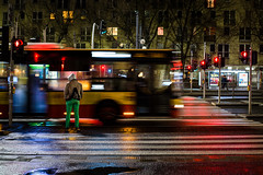 Stop! (maciej_urbanowicz) Tags: center centre centrum nikkor nikon prime streetphoto streetphotography warsaw warszawa blackandwhite monochrome night nightphoto streets