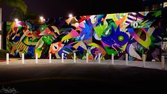 Mural by Tomokazu Matsuyama at Cañon Drive @Night (Daren Grilley) Tags: 2470 beverly hills purple line metro construction sound wall culdesac mural art artists street nikon z z6 night tomokazu matsuyama