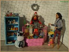 7.advent day (Mary (Mária)) Tags: advent christmas doll barbie katniss toy toyshop kinder suprise shaun pooh seller santa winter shopping shop diorama dollphotography dollcollector dollphotographer handmade mattel wreath miniatures marykorcek