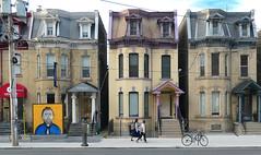 Urban Toronto.Dundas St. (Bernard Spragg) Tags: toronto dundasst urban lumix street houses homes canada compactcameras art bike cycle people walking streetscene