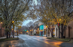 Early Morning in Cookeville (donnieking1811) Tags: tennessee cookeville broadstreet outdoors stores lights wreaths signs trees leaves christmasdecorations hdr canon 60d lightroom photomatixpro