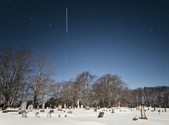 2 out of 3... The International Space Station chased by SpaceX's Dragon Resupply Capsule (Bright white line and faint white line under it) - Tenants Harbor Maine (Jonmikel & Kat-YSNP) Tags: maine nasa iss internationalspacestation spacex space spaceflight night cemetery snow winter