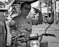 Take my picture (Beegee49) Tags: street people man motorcycle blackandwhite monochrome sony a6000 portrait bw bacolod city philippines asia