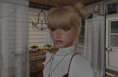 Tell him you only made enough for one tonight. (Teddi Beres) Tags: second life sl virtual screenshot dinner truth hair blonde girl woman freckles dining table