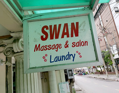 Swan Massage (cowyeow) Tags: street city travel funny funnysign asia asian trippy sign combination thailand bangkok laundry massage salon happyending