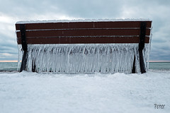 Post Storm   IMG_3301ew (juststopandlook) Tags: ice snow bench icicles lake waterfront
