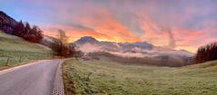 Autumn dawn panorama of Kaiser mountains from Breitenau near Kiefersfelden, Bavaria, Germany (UweBKK (α 77 on )) Tags: autumn autumnal fall herbst landschaft landscape view scenery scene scenic outdoors dawn sunrise morning sky pink orange panorama panoramic road green grass field meadow mist fog cloud kaiser mountain range kaisergebirge breitenau kiefersfelden bavaria bayern germany deutschland europe europa iphone