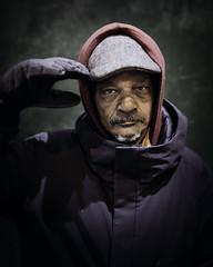 Archie (mckenziemedia) Tags: man portrait portraiture face hat hood coat military veteran homeless homelessness chicago city urban street streetphotography