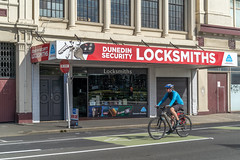 Dunedin Security Locksmith, 10 Castle St., Dunedin, Dunedin, New Zealand, 9.35 AM Thurs. 5 Dec. 2019 (mark_mcguire) Tags: dunedin dunedinnz newzealand nz dunnerstunner streetphotography urbanphotography canpubphoto sonya7iii sony55mm