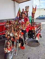 so many pieces of flair! (ekelly80) Tags: portugal azores sãomiguel october2019 tea plantation chágorreana ribeiragrande parkinglot man bike piecesofflair