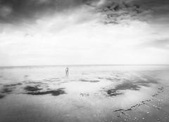(seanlewis) Tags: puertopeñasco mexico johanna beach sand water bajacaliforniasur blackandwhite bw clouds sky lessismore