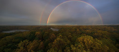 Rainbow (2bskyhi) Tags: rainbow trees colors fall autumn water clouds nature landscape panoramic weather mist rain double