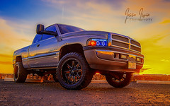 Dodge At Sunset (HDR Edit) (Smirv) Tags: hdr 4x truck sunset vehicle low light wideangle highdynamicrange orange warm lowlight 4xp tire dodge dodgeram