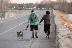 Walking the dog (Andrew Penney Photography) Tags: lakehefner atthelake atl sunset sunsetorangepearl lake water okc