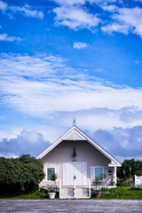Harbor Chapel in Moss Landing, California (Allison Kendall) Tags: mosslanding california coastal coast sky clouds cloudy blue chapel church building quaint charming town monterey bay hwy1 travel