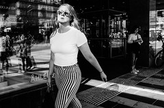 Stripes (A.Johansson) Tags: streetphotography street blackwhite bnw monochrome stripes shades sunglasses stockholm summer ricoh grii ricohgr reflection streetsofmine candid candidphotography august mirrorglasses ricohgrii highcontrast blackandwhite