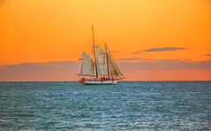 Sail Boat at Sunset (lgflickr1) Tags: blue d750 dusk sundown outside pretty peaceful orange ocean oceanfront white water winter sailboat florida keywest ship shore atlanticocean waterfront clouds colorful travel vacation east coast nikon nikkor turquoise sea boat statepark sky sunset light park landscape people calm seashore pastels