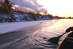 Paddling along an icy shore... (deanspic) Tags: sunset canal paddle spiral g3x