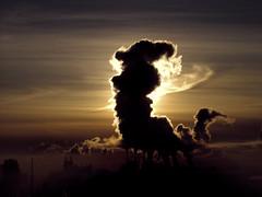 The City is Waking up (salashin) Tags: city winter shadow sun silhouette sunrise dawn smoke frostsky russia moscow