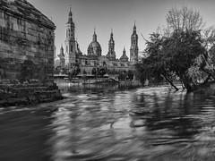 El Pilar a la ribera del Ebro (tonygimenez) Tags: río basílica pilar zaragoza ciudad catedral templo ebro ribera bn agua aragón torres olympus zuiko12100 largaexposición