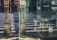 Man Passes Up A Slice Of Pizza (Creekside Photog) Tags: reflection crosswalk street pizza man newyork hellskitchen car