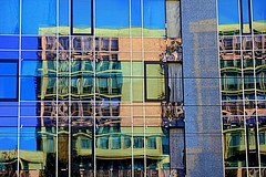 reflections (majka44) Tags: architecture window facade blue mirror 2019 light building modern colors yellow reflection