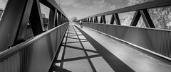 Jonkheere brug (Roland B43) Tags: fujifilmxa2 vivitar28mm28 jonkheerebrug bridge jonkheere brugge bruges belgium reflections shadows cyclist bike canalghentostend cinematic infrared blackwhite