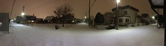 Panorama of a Blizzard (sjrankin) Tags: 8december2019 edited kitahiroshima hokkaido japan panorama snow weather evening lights lines wires road blizzard wind trees houses neighborhood