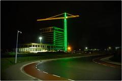 Construction Work (pvl83) Tags: xt20 crane building road night securitycamera illuminated deventer whiteframe hotel lights walkway silhouette constructionwork