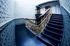 Fisheye Staircase (kuestenkind) Tags: staircase treppenhaus stairs blue hamburg northgermany norddeutschland canon 6d fisheye weitwinkel 12mm