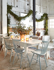 Rustic White Dining Room (Heath & the B.L.T. boys) Tags: rustic christmas diningroom white woodstove garland evergreen eucalyptus candle bench