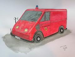 """Der legendere """"Arbeitswagen"""" der Feuerwehr Coesfeld (ahnen-wolter) Tags: feuerwehr coesfeld sketchbook sketching sketch zeichnen watercolor aquadelle auto car oldtimer dkw"""
