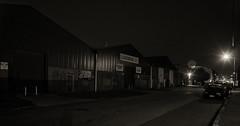 Night closes in (OzzRod) Tags: street industry pentax warehouses k1 soligor28mmf28 blackandwhite monochrome night newcastle starbursts wickham